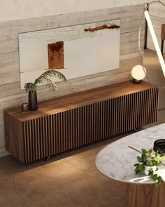 "One of our most ancient collections. Acqua collection gave birht to this modern and ellegant sideboard that adds style to any dining enviroment. In this sideboard we have the ""less is more"" premiss aplicated in it's best context. Living Room Tv Unit, Home Living Room, Living Room Decor, Home Decor Furniture, Wood Furniture, Furniture Design, Sideboard Decor, Credenza, Dining Room Design"