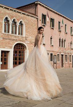 Style BR-15-23, sleeveless tulle ballgown wedding dress with a deep V-neckline, Inbal Dror