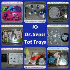 10 Dr. Seuss themed Tot trays. Fun!