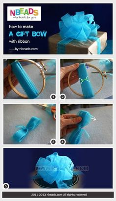 How to Make A Gift Bow with Ribbon – Nbeads by LiveLoveLaughMyLife – Abiball Abschlussfeier Baby Shower Erntedankfest (Thanksgiving) Geburtstag Geschenk korb Diy Bow, Diy Ribbon, Bows With Ribbon, Making Ribbon Bows, Gift Wrap Ribbon, How To Make A Gift Bow, Craft Gifts, Diy Gifts, Gift Bows