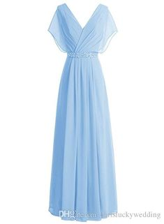 Country Style Cheap 2017 Beach Bridesmaid Dresses Long Chiffon V Neck Prom Gown Wedding Party Plus Size Dresses Short Sleeve Custom Made Long Sleeve Evening Gowns, Beaded Evening Gowns, Long Sleeve Gown, Prom Gowns, Ball Gowns, Patterned Bridesmaid Dresses, Beach Bridesmaid Dresses, Lace Bridesmaids, Prom Gown With Sleeves