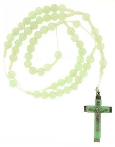 Glow in the Dark Beaded Rosary with 8mm Beads - 26in. Rosary Necklace - 31in. Overall Length Necklaces - Religious. $2.49. 26in. Rosary Necklace. Glow in the Dark. 31in. Overall Length. Rosary. 8mm Beads