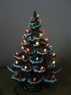 Vintage ceramic lighted Christmas tree - big decorating stuff in the 1960's and 1970's.
