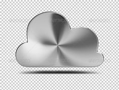 Steel cloud. 3d image. Transparent high resolution PSD with shadows. Alpha channel.