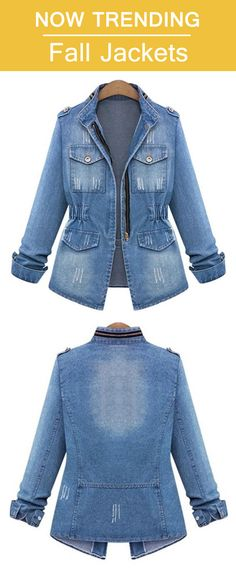 86f79a943007e Plus Size Stand Collar Tight Waist Women s Denim Jacket. Size from S to 5XL.
