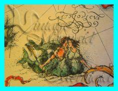 s185 Old Map Mermaids Print Mermaid Fabric by wwwvintagemermaidcom, $3.00