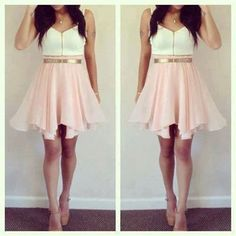 Cute Pink And White Homecoming Dress! School Dance Please! Pink and White dress with Gold Belt.Short Prom Dresses,Homecoming Dresses,Prom Gowns,Party Dresses,Graduation Dresses,Short Prom Dresses,Gowns Prom,Cheap Prom Gowns on Line
