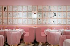 Pink walls, pink ceiling at The Gallery Restaurant at Sketch London by India Mahdavi