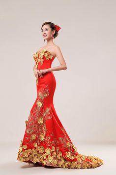 free shipping Wedding dress formal dress luxurious train formal dress fish tail the bride wedding dress design long gown(China (Mainland))