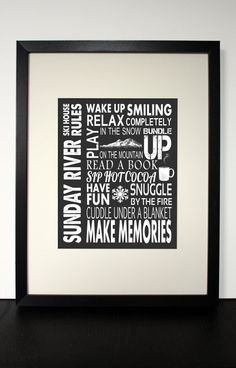 SKI HOUSE RULES  customizable wall art  8 x by BlueGreenBlueDesign, $20.00    Sunday River!