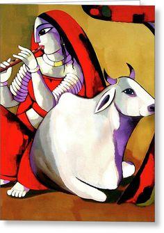 Radha Greeting Card by Sekhar Roy