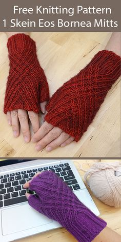 One Skein Fingerless Mitts Knitting Patterns - In the Loop Knitting Beginner Knitting Patterns, Knit Patterns, Free Knitting, Knitting Projects, Knitting Hats, Fingering Yarn, Fingerless Gloves Knitted, Sock Yarn, Spinning