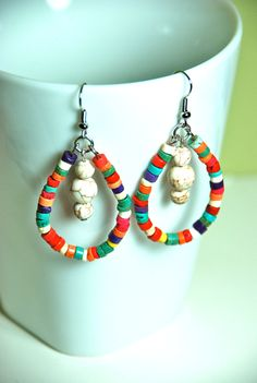 Colorful Howlite Dangle Loop Earrings by naturalintegrity on Etsy, $10.50