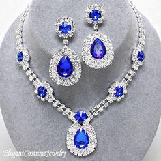 Sapphire Blue Crystal Necklace Set Chunky Elegant Prom Formal Costume Jewelry #ElegantCostumeJewelry
