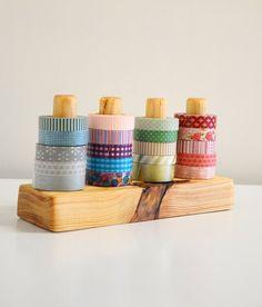 Washi Tape Organizer - Wood Masking Tape Holder - Eco friendly Japanese Tape Dispenser for 20 rolls - tape display