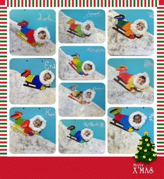 Winter sled fun artwork with children's faces - would look great on a white winter bulletin board.