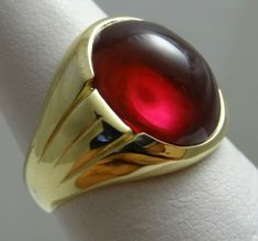ANTIQUE MENS RUBY RING 10K SOLID YELLOW GOLD