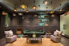 Swedish Top designers, TPG Architecture, designed Spotify New York's office and selected HERMES sofa as one of the furniture design piece to be part of this office interior design.  http://brabbucontract.com/pro jects/spotify-ny-office-by-tpg-architecture.php