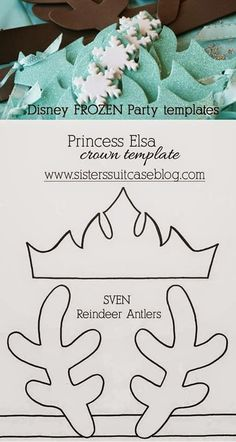 My Sister's Suitcase: FROZEN Elsa Crown + Sven Reindeer Antler Templates Sanquer Sanquer Ballisty Ballisty Ballisty Bowen Frozen Birthday Party, Disney Frozen Party, Frozen Theme Party, 6th Birthday Parties, Frozen Party Favors, Disney Frozen Crafts, Birthday Ideas, Olaf Party, Frozen Party Games