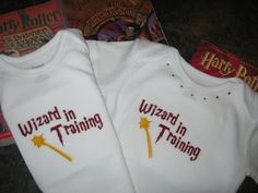 Wizard in training onesie CHOOSE Boy or Girl or TWIN SET. $12.50, via Etsy.