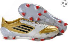 official photos 4ad7b b84a9 Chaussure de foot f50 adizero miCoach Cuir FG Blanc Or FT181 Black Football  Boots, Soccer