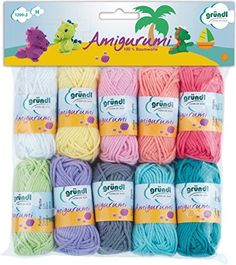 Amigurumi cotton yarn set of 10 cotton yarnballs of 10 gram each and 23 meters each in fine pastel colours for fun crochet projects Amigurumi Tutorial, Crochet Amigurumi, Amigurumi Doll, Knit Crochet, Crochet Toys Patterns, Stuffed Toys Patterns, Crochet Stitches, Kit, Crochet Hook Set