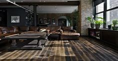 Liked on Pinterest: Meat Packing District Loft.  Russian White Oak floors with Oil Black Tint.