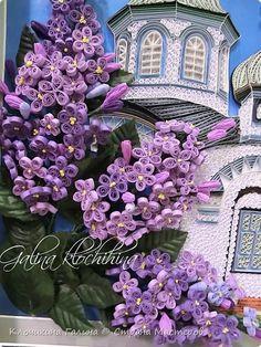 Картина панно рисунок Квиллинг Храм преподобного Лонгина Коряжемского Бумажные полосы фото 3