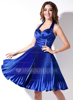 Cocktail Dresses - $96.99 - A-Line/Princess Halter Knee-Length Charmeuse Cocktail Dress With Ruffle Beading (016008369) http://jjshouse.com/A-Line-Princess-Halter-Knee-Length-Charmeuse-Cocktail-Dress-With-Ruffle-Beading-016008369-g8369