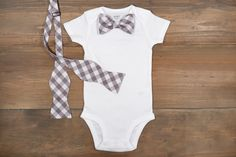 Gray Gingham Bow Tie Onesie + Matching Mens Bow Tie