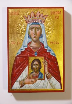 St Theodora the Empress icon by Georgi Chimev Paint Icon, The Empress, Orthodox Icons, Style Icons, Christianity, Saints, Religion, Hand Painted, Female