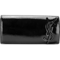 Saint Laurent Monogram Clutch ($1,290) ❤ liked on Polyvore featuring bags, handbags, clutches, borse, black, yves saint laurent handbags, formal purse, monogrammed purses, patent leather handbags and patent handbags