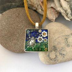 Ladybird necklace Ladybug mosaic pendant Bright millefiori | Etsy
