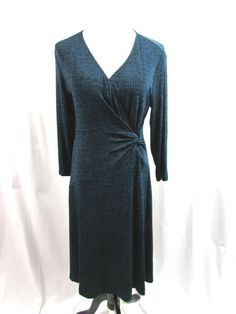 Chico's Travelers Slinky Teal Blue and Black Stretch Dress Career Size 1 Medium  #Chicos #Shift #WeartoWork