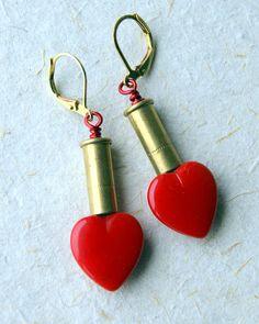 Red Heart Bullet Earrings  vintage glass heart beads  heart