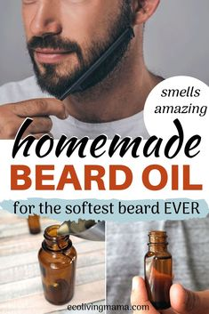This DIY woodsy beard oil recipe is made with essential oils and is super simple to make. Jojoba oil and almond oil promote healthy beard growth and a soft beard worth snuggling. What a perfect DIY Father s Day Gift idea! Homemade Beard Oil, Diy Beard Oil, Best Beard Oil, Doterra, Beard Growth Oil, Beard Growth Products, Best Beard Products, Natural Beard Growth, Oils For Men