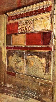 """This is Incrustation style which were used in Roman wall paintings. This style consists of the wall containing colorful patches of blocks that resembled marble walls. """"The Four Styles of Roman Wall Paintings."""" Thou Art History. Ancient Pompeii, Pompeii And Herculaneum, Fresco, Roman History, Art History, Art Romain, Block Painting, Décor Antique, Roman Art"""