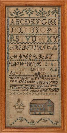 Nova Scotia silk on linen sampler, dated 1836, Pook & Pook, Live Auctioneers