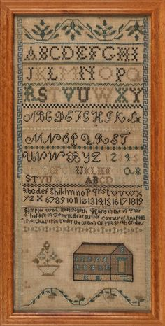 Nova Scotia silk on linen sampler, dated 1836, Pook & Pook, Live Auctioneers