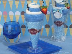 """These towel favors have become a top seller thanks to our customers. They are popular for baby showers and birthday parties. """"Sweet Treats Collection"""" Blueberry Sundae Towel Favor"""