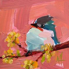 Tufted Titmouse no. 56 Original Oil Painting by Angela Moulton Oil Painting Trees, Simple Oil Painting, Oil Painting Texture, Oil Painting Abstract, Artist Painting, Bird Paintings, Indian Paintings, Watercolor Painting, Landscape Paintings