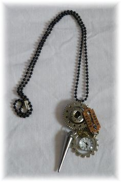 Steam punk necklace. Silver, bronze and copper pendant. by BlossomHandcrafted on Etsy
