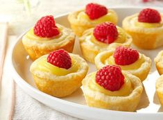 27 Favorite Mini Desserts - Your favorite treats, from cheesecake to pumpkin pie, shrink down to their best hand-held form in these fun mini desserts perfect for parties and potlucks. Mini Desserts, Lemon Desserts, Lemon Recipes, Tart Recipes, Just Desserts, Cookie Recipes, Dessert Recipes, Spanish Desserts, Potluck Desserts