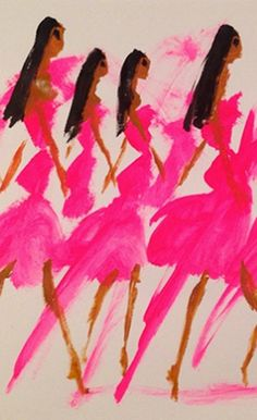 Fashion illustration by Donald Robertson, head of creative development for Bobbi Brown. Mood Board Inspiration, Silhouette Mode, Donald Robertson, Art Aquarelle, Illustration Mode, Everything Pink, Fashion Art, Fashion Black, Pink Fashion