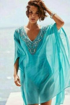 Embellished Caftan Swim Cover Up Add a hint of glamour to your poolside style with this embellished swim cover up. Luxe beaded detail immediately catches your eye, while the floaty caftan silhouette flatters like crazy. Modest Fashion, Boho Fashion, Fashion Outfits, Womens Fashion, Fashion Spring, Summer Outfits, Casual Outfits, Cute Outfits, Summer Clothes
