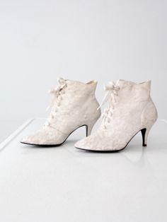 vintage 80s white lace ankle boots