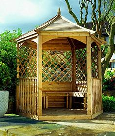 LIVEOUTSIDE Winchester - Hexagonal Wooden Pavilion with Floor, Side Trellis and Balustrade. Wooden Pavilion, Wooden Gazebo, Garden Buildings, Garden Structures, Outdoor Structures, Amazing Gardens, Beautiful Gardens, Lattice Wall, Memphis