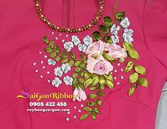nhận thêu ruy băng số lượng lớn , thêu ruy băng trên trang phục, thêu ruy băng trên váy, thêu ruy băng trên đầm, thêu ruy băng trên túi xách...LH : 0905422456 Ribbon Embroidery Tutorial, Embroidery Neck Designs, Shirt Embroidery, Silk Ribbon Embroidery, Embroidery Stitches, Ribbon Shirt, Ribbon Work, Sewing Basics, Crystal Beads