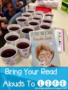 We remember the book Freckle Juice! Adding cups to our lists. This activity is a great way to bring reading aloud to life by getting students involved in the book. Library Lessons, Reading Lessons, Reading Activities, Reading Skills, Teaching Reading, Reading Resources, Library Activities, Reading Fair, Library Ideas