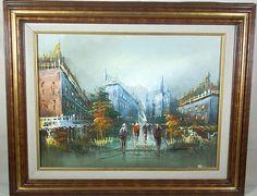 Original Oil Painting Paris Street Scene by KathrynsThisandThat, $129.99